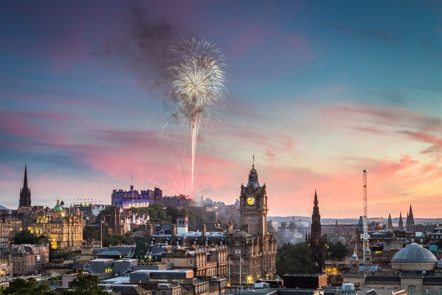 Fireworks in Edinburgh Castle at sunset